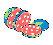 Slices of Earth salami. Chopped planet. Vector illustration