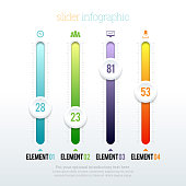 Vector illustration of colorful glossy slider infographic elements. ZIP file contains optional editable AI, EPS, and PSD files.