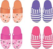 Vector set of four slippers, Eps 8 Vector, gradient mesh used