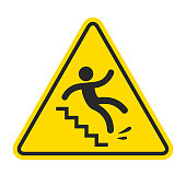 Slippery stairs warning. Yellow triangle symbol with stick figure man falling on stairs. Workplace safety and injury vector illustration.