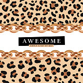 Awesome slogan with golden chains illustration and leopard print pattern.