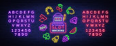Slot machine is a neon sign. Collection of neon signs for a gaming machine. Game icons for casino. Vector Illustration on Casino, Fortune and Gambling. Jackpot. Editing text neon sign.