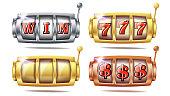 Slot Machine Set Vector. 777. Golden, Silver, Bronze. Gambling Poster. Spin Object Spin Machine Template Casino Illustration