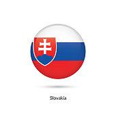Slovakia flag - round glossy button. Vector Illustration.
