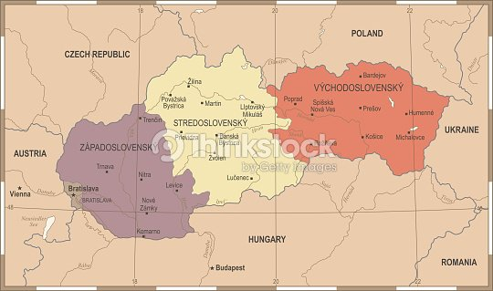 Slovakia Map Vintage Detailed Vector Illustration Vector Art - Vintage budapest map