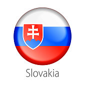 Full Vector High detail round button flag of Slovakia Country isolated on white background