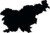 Slovenia black map on white background vector