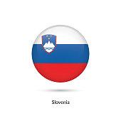 Slovenia flag - round glossy button. Vector Illustration.