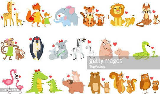 Small Animals And Their Moms Illustration Set : stock vector
