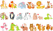 Small Animals And Their Moms Illustration Set. Colorful Childish Style Cartoon Animals In Parent Child Pairs Isolated On White Background.