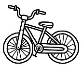 small bicycle / cartoon vector and illustration, black and white, hand drawn, sketch style, isolated on white background.