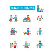 Small business illustration, thin line icons, linear flat signs, outline pictograms, vector symbols set, editable strokes
