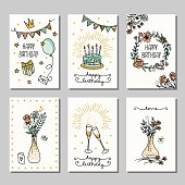 Set of six hand drawn birthday mini cards, design template with flowers, champagne glasses and birthday cake