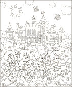 Kids playing on a recreation ground in a summer park of a town, black and white vector illustration in a cartoon style for a coloring book