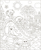 Little kids sliding down from a water slide in a summer waterpark, black and white vector illustration in a cartoon style for a coloring book