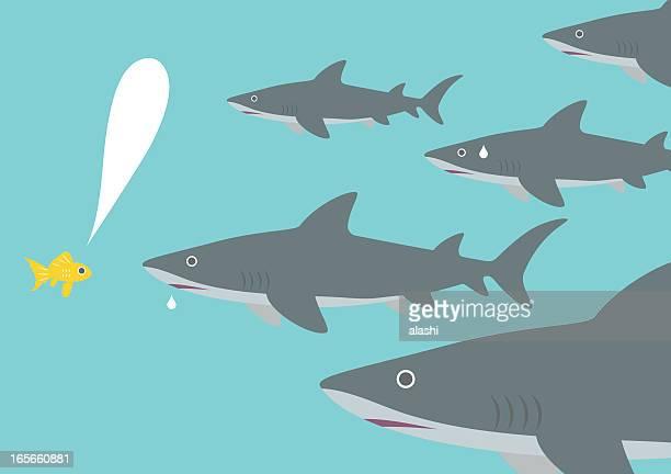 Small fish facing sharks ( Courage )