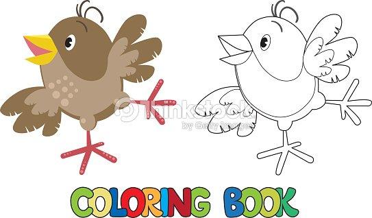 Funny Gorrión Pequeño Libro Para Colorear Arte vectorial | Thinkstock