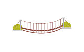Icon of small hanging wooden bridge and green bushes. Suspension footbridge. Graphic element for mobile game. Colorful flat vector design isolated on white background. Cartoon style illustration.