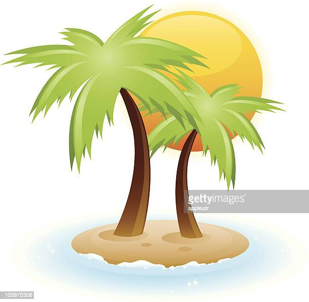 Small Island With Palm Trees