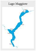 small outline vector map of the upper Italian Lake Maggiore, Italy.