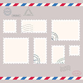 Postage stamps template. Blank rectangle, square postage marks. Rubber wave stamps. Flat style modern vector illustration with retro colors. For for envelopes, postcards or letter retro style paper.