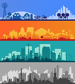 Vector collection of 3 horizontal banners with small town or village silhouettes