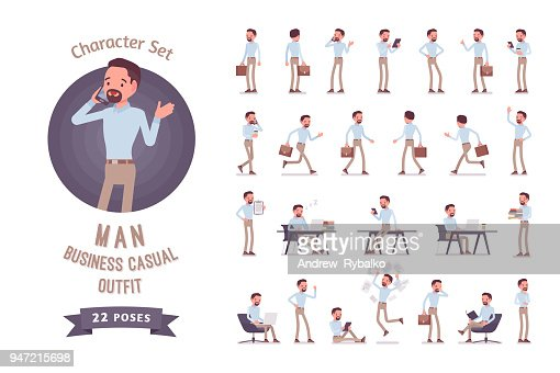 Smart business casual man ready-to-use character set : Vector Art