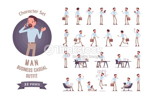 Smart business casual man ready-to-use character set : stock vector