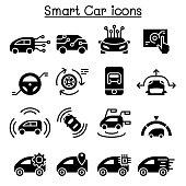 Smart car icons set