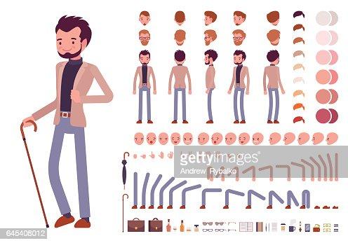 Décontracté chic homme de caractère de création ensemble : clipart vectoriel