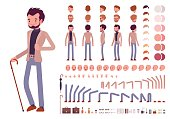 Smart casual male character creation set. Full length, different views, isolated against white background. Build your own design. Cartoon flat-style infographic illustration