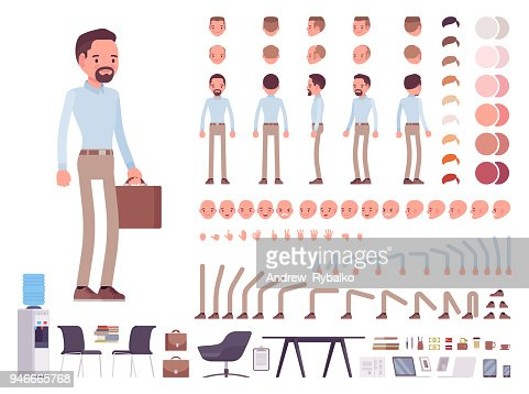 Smart casual man character creation set : stock vector