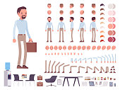 Smart casual man character creation set. Business stylish workwear, office city fashion. Full length, different views, emotions, gestures. Build own design. Cartoon flat-style infographic illustration