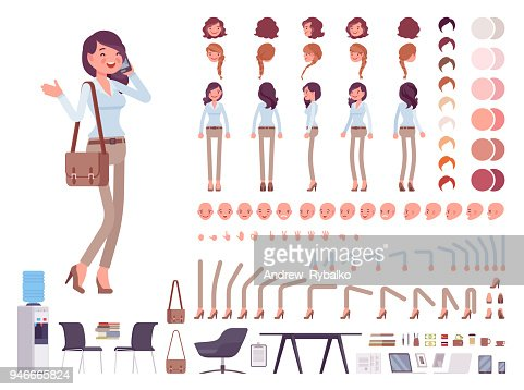 Smart casual woman character creation set : Vector Art