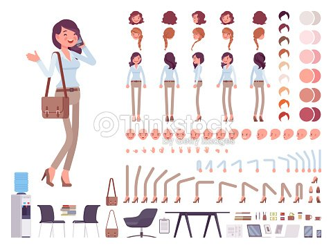 Smart casual woman character creation set : stock vector