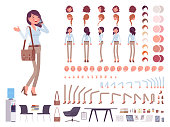 Smart casual woman character creation set. Business stylish workwear, office fashion. Full length, different views, emotions, gestures. Build own design. Cartoon flat-style infographic illustration