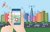 smart city and smart phone application using location information, hand hold smart phone, vector illustration