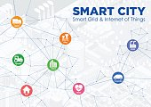 smart city line drawing illustration with various technological icons, futuristic cityscape and modern lifestyle, smart gird, IoT(Internet of Things), ICT(Information Communication Technology)
