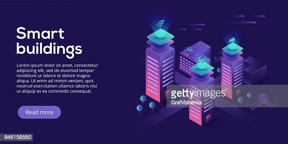 Smart city or intelligent building isometric vector concept. Building automation with computer networking illustration. Management system or BAS thematical background. IoT platform as future technology. : Arte vetorial