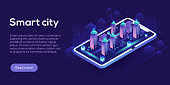 Smart city or intelligent building isometric vector concept. Building automation with computer networking illustration. Management system or BAS thematical background. IoT platform as future technolog