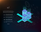 Smart city or intelligent building isometric vector concept. Management system or BAS thematical background. IoT platform future technology. Building automation with computer networking illustration.