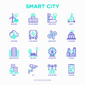 Smart city thin line icons set: green energy, intelligent urbanism, efficient mobility, zero emission, electric transport, balanced traffic, public spaces, CCTV, telemedicine. Vector illustration.