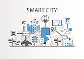 Smart city vector background