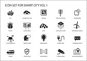 Smart city vector icons and symbols in flat design