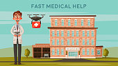Smart doctor. Modern hospital. Facade of clinic. Modern technologies. Cartoon vector illustration. Healthcare concept. Cute physician person with drone. Transportation of organs