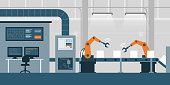 Efficient smart factory with robots, computers and assembly line: industry 4.0 concept