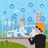 Smart factory. Internet of things and big data concept. Businessman with phone in his hands starts and manage huge plant with application. Neural network of all connections and logistic. Vector flat