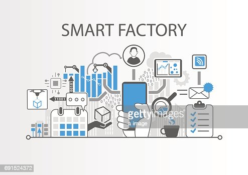 Smart factory or industrial internet of things background vector illustration : Arte vettoriale