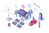 Smart grid concept design. Can use for web banner, infographics, hero images. Flat isometric vector illustration isolated on white background.
