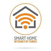 Smart Home and Internet of Things symbol. Smart House with WiFi symboltype. Flat style icons. Isolated Vector Illustration